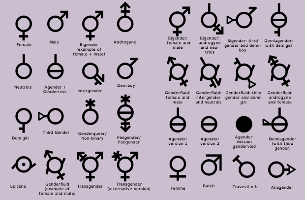 Just a few of the possible gender identities for you to choose between